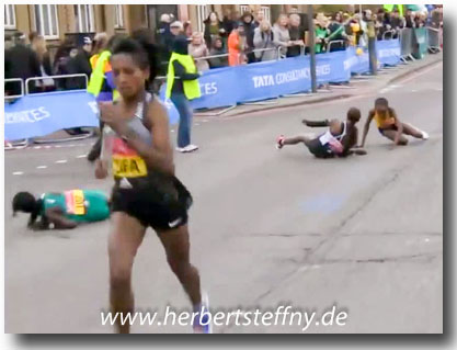 London Marathon Sturz Frauen 35 km